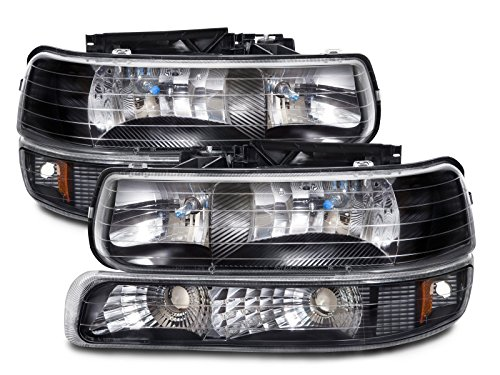 Chevy Silverado/Tahoe Halogen-Type Xenon Black 4-Piece Headlights Set (99 Chevy 1500 Headlights compare prices)