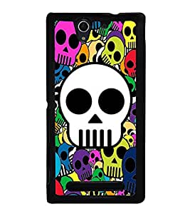Multicolour Skulls Wallpaper 2D Hard Polycarbonate Designer Back Case Cover for Sony Xperia C3 Dual :: Sony Xperia C3 Dual D2502