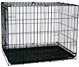 YML Double Door Dog Kennel Cage with Plastic Tray No Bottom Wire, 36-Inch, Black