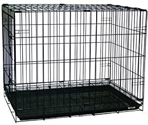 YML Double Door Dog Kennel Cage with Plastic Tray No Bottom Wire, 42-Inch, Black