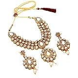 Indian Kundan Pearl Polki Ad Cz Jade Handmade Gold Plated Necklace Set 6678