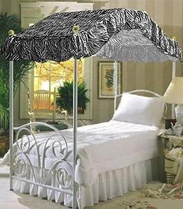Twin Size Zebra Animal Print Canopy Top Fabric