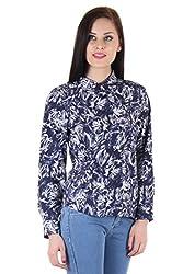 Bonheur Women's Navy Printed Shirt (BH-012-Navy-M_Navy_Medium)