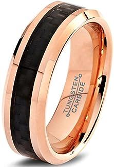 buy Tungsten Wedding Band Ring 6Mm For Men Women Comfort Fit 18K Rose Gold Plated Black Carbon Fiber Beveled Edge Polished Lifetime Guarantee Size 11