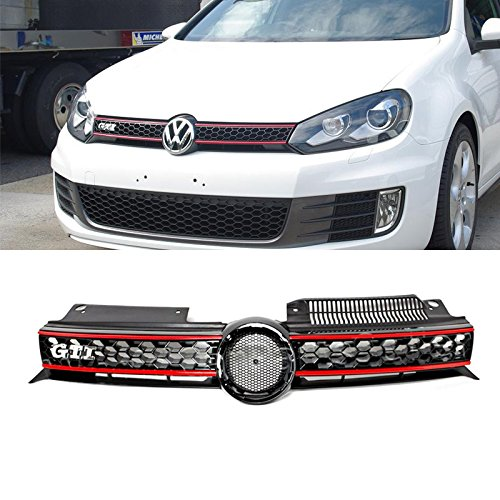 VioGi 1pc Black With Red Trim Strong ABS Plastic Honeycomb Mesh Style Front Main Upper Grille With GTI Emblem Fit 10-13 Volkswagen Golf/GTI MK6 / 11-14 Jetta MK6 Sportwagen/Wagon Only (2012 Jetta Front Emblem compare prices)