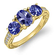 buy 1.79 Ct Oval Blue Tanzanite 14K Yellow Gold Ring