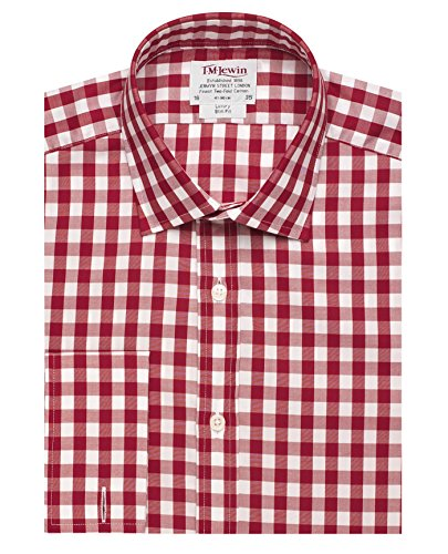 tmlewin-chemise-casual-a-carreaux-col-chemise-classique-manches-longues-homme-rouge-rouge
