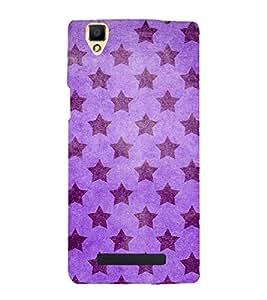 purple stars in voilet background 3D Hard Polycarbonate Designer Back Case Cover for Oppo F1