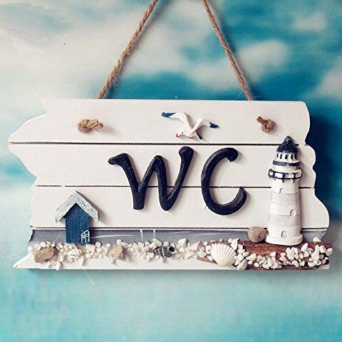 【y-y shop】マリンスタイル!!案内 プレート トイレ WC 壁 掛け アンティーク 木製