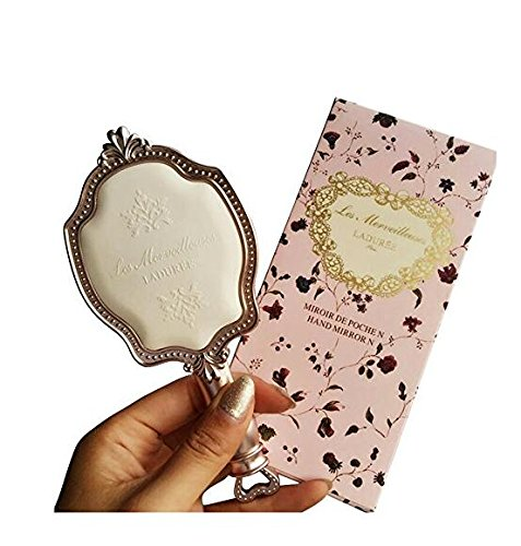 Girls Embossed Vintage Make-Up Hand Table Mirror Hand Held Makeup Mirror Princess Style Ideal Gift 3