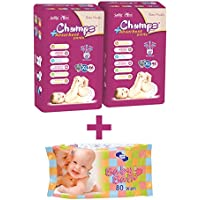 Champs High Absorbent Pants/Diapers-Extra Large -46 Pieces-Set of 2 with free baby wet wipes (80 pcs)