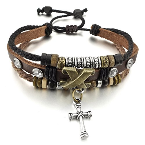 Men,Women's Alloy Genuine Leather Bracelet Bangle Rope Cross Surfer Wrap Braided Tribal Adjustable Fit 7~9 inch by INBLUE Jewelry