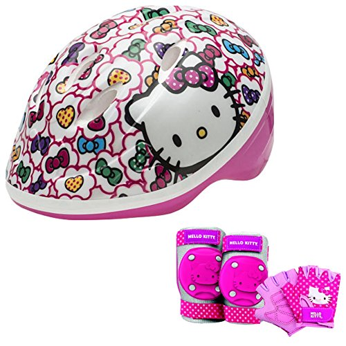 Hello-Kitty-Toddler-Girls-Skate-Bike-Helmet-Pads-Gloves-7-Piece-Set