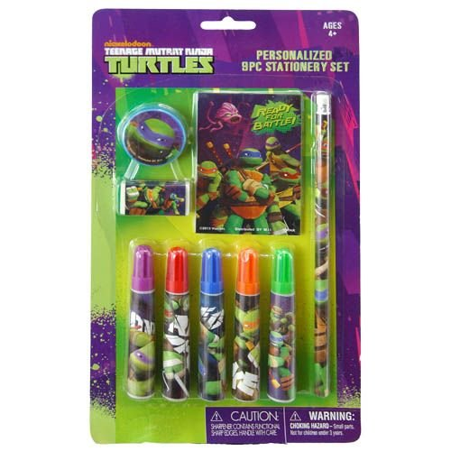 Tmnt 9pc Stationery Set w/ Pencil Markers & Notepad