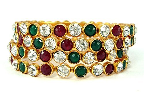 9blings Ruby emerald cz gold plated pc Bangle for Women l24209 at amazon