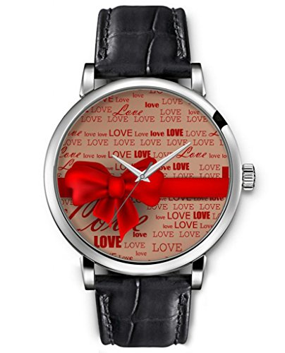 Wrist Watch For Women Analog Silver Face Black Leather Quartz Unisex Silver Watches Ideal Gift Clear Print Fashion Design Lovely Red Bow Tie