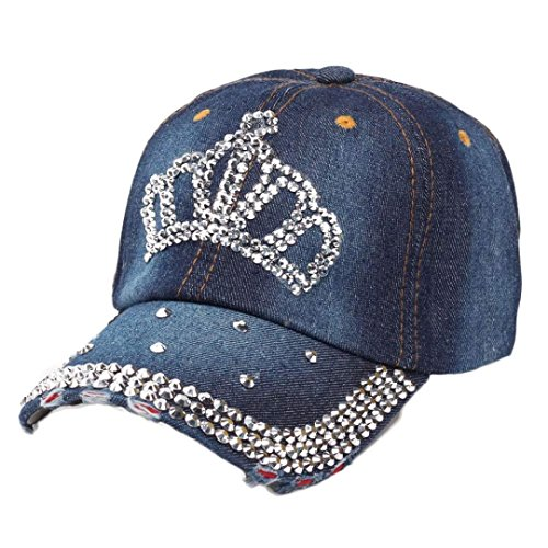 Caps, Toraway Vintage Women Diamond Jean Hat Denim Baseball Flat Cap (A) (Diamond Sun Visor compare prices)