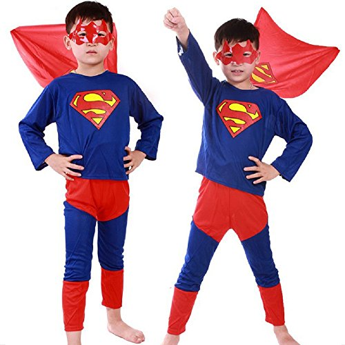 COSTUME DA SUPERMAN 7-8 ANNI TAGLIA L TRAVESTIMENTO DI CARNEVALE E HALLOWEEN BAMBINO (CONTROLLARE LE MISURE IN CENTIMETRI DELLA TAGLIA) BAT MAN- HLLW