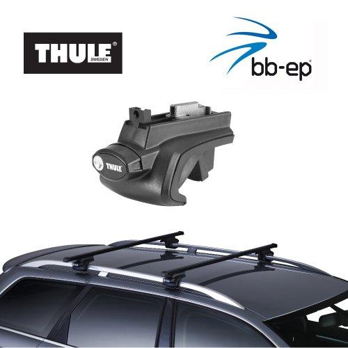 Thule Premium Stahl Dachträger / Lastenträger Set für BMW 5-series Touring - Kombi - ab Baujahr 1997 bis 2000 - mit normale (hochstehender) Dachreling - Komplettset abschließbar inkl. Schloss und Schlüssel - kein weiteres Zubehör nötig!!! Gratis für Sie 1 Liter Scheibenwasch Konzentrat