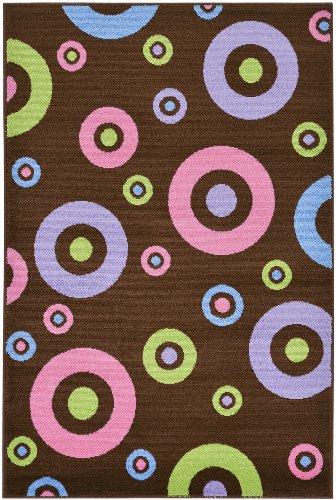 "Brown Contemporary Circles Design Kids Rug (5'0""X7'0"")"