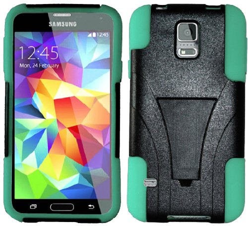 Mylife (Tm) Night Black And Teal - Neo Hybrid Series (Built In Kickstand) 2 Piece + 2 Layer Case For New Galaxy S5 (5G) Smartphone By Samsung (External Hard Fit Armor With Built In Kick Stand + Internal Soft Silicone Rubberized Flex Gel Bumper Guard)