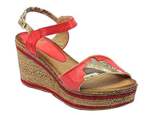 Sandali Mercante di Fiori in pelle rossa con zeppa bicolore effetto corda (Taglia 39)