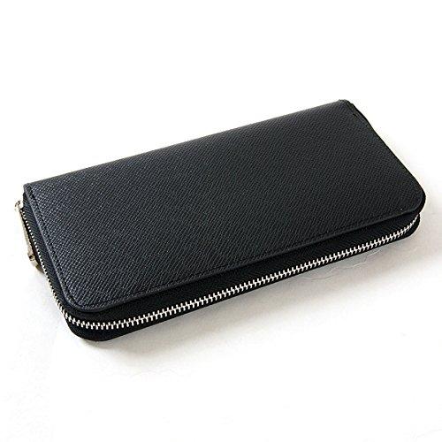 【サンタリート】 Santareet 本革 メンズ ラウンド ファスナー 財布 ブラック