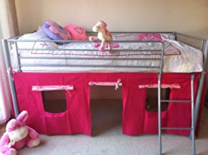 Cosy Stars Metal Mid Sleeper Cabin Bunk Bed With Fun Playful Tent (pink)