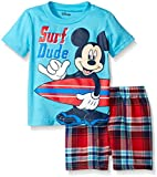 Disney Boys Mickey Mouse Plaid Short Set with Tee