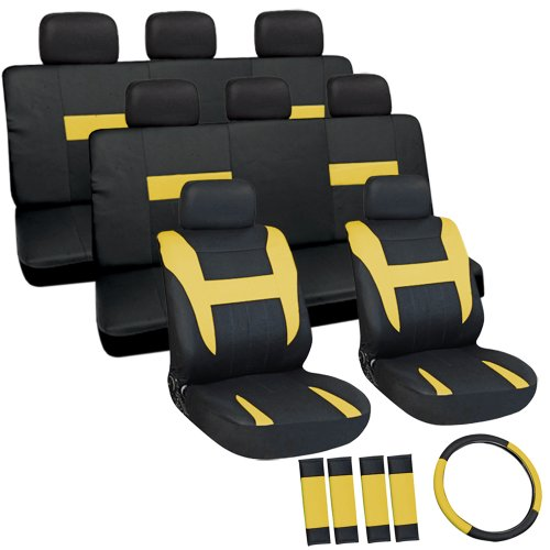 Oxgord Flat Cloth Seat Cover Set For Buick Mini Passenger Vans, Airbag Compatible, Split Bench, Yellow & Black front-1051713