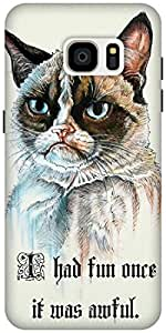 The Racoon Lean serious cat hard plastic printed back case / cover for Samsung Galaxy S7 Edge