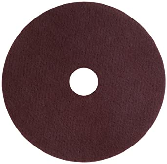 "Glit 11520 TN Polyester Blend Maroon Wood Surfacing Pad, Synthetic Blend Resin, Aluminum Oxide Grit, 20"" Diameter, 175 to 350 rpm (Case of 10)"