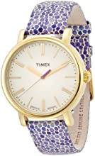 Timex Original women's quartz Watch with beige Dial analogue Display and purple leather Strap T2P326PF