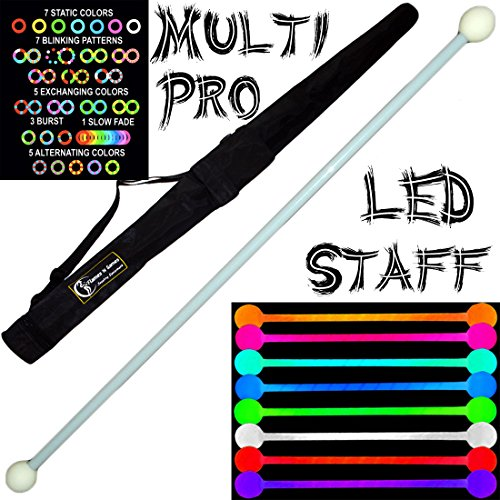 140Cm Led Glow Staff Multi-Light (28 Settings) Multifunction Pro Contact Glow Led Staffs + Flames N Games Staff Travel Bag. Great For Contact Staff Spinning!