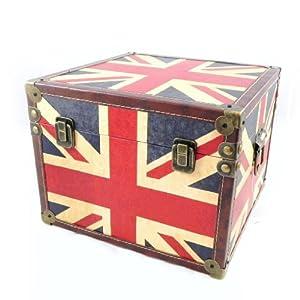 malle coffre bois drapeau anglais deco londres. Black Bedroom Furniture Sets. Home Design Ideas