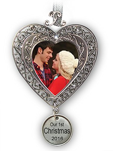 First Christmas Ornament 2016 - Silver Filigree Heart Shaped Photo Ornament with a Hanging Charm that Reads