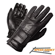 Olympia 402 Perforated Gel Classic Motorcycle Gloves (Black, X-Large)