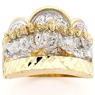 9ct Two Colour Gold Last Supper Jesus Religious Mens Ring