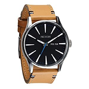Nixon Sentry Black Dial Tan Leather Mens Watch A1051602