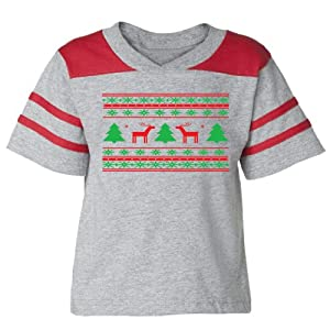 Festive Threads Christmas Sweater (Deer Design) - Toddler Football T-Shirt