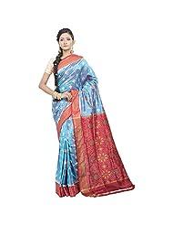 Shayeri Blue Silk Saree For Women - B00PQM6C0E
