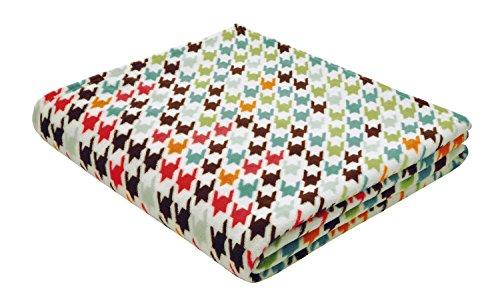 B@Home Houndstooth Colourful - Juego de ropa de cama (150 x 200 cm, forro polar), multicolor