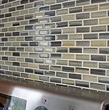 Sample - Beach Break Hand Painted Glass Mosaic Subway Tiles