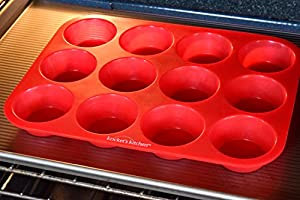 12 Cup Red Silicone Cupcake Pan / Non Stick Muffin Pan / Silicone Baking Pans / Kitchen Safe
