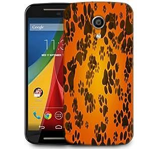 Snoogg Dog Paws Orange Background Designer Protective Phone Back Case Cover For Motorola G 2nd Genration / Moto G 2nd Gen