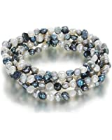 Set of 5 Orchira white, silver grey and black 4-5mm baroque pearl elastic bracelets
