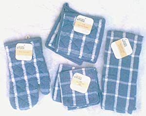 The Home Store 6 Piece Set - 2 Blue Terry Cloth Potholders - Blue Terry Cloth Oven Mitt - Blue Terry Cloth Dishtowel - 2 Blue Terry Dishrags at Sears.com