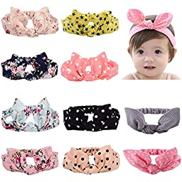 Toptim Baby Headbands Turban Knotted, Girl\'s Hairbands for Newborn,Toddler and Childrens (Bunny Ears 10 Pack)