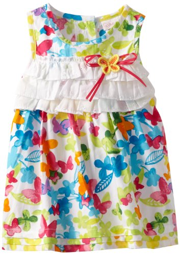 Youngland Baby-Girls Infant Sleeveless Ruffle Bodice Bubble Dress, White Multi, 18 Months