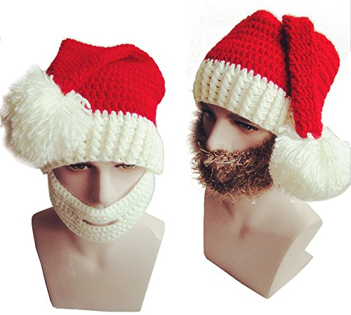 Hisionlee Christmas Knitted Hat Santa Claus' Cap with Mustache-Knit Beard Hat(Yellow Mustache for (Santa Claus Cap)
